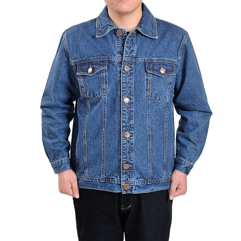 FOMANSH デニムジャケット メンズ gジャン 長袖 大きいサイズ S-4XL 綿 無地 シンプル アウター ジージャン ブルー ジャケット 春秋 夏 冬