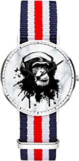 Men 40mm Stainless Steel Silver Classic Quartz Anchor Watch Blue White Red White Blue Nylon Replaceable Multi-Color Striped Nylon Band, Under 20 Dollar Amout