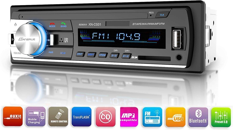 Dansrueus Car Stereo with Bluetooth, Single Din Car Radio, in-Dash Car Stereos Receiver MP3 Music Player/USB/SD Card/AUX/FM Radio with Remote Control