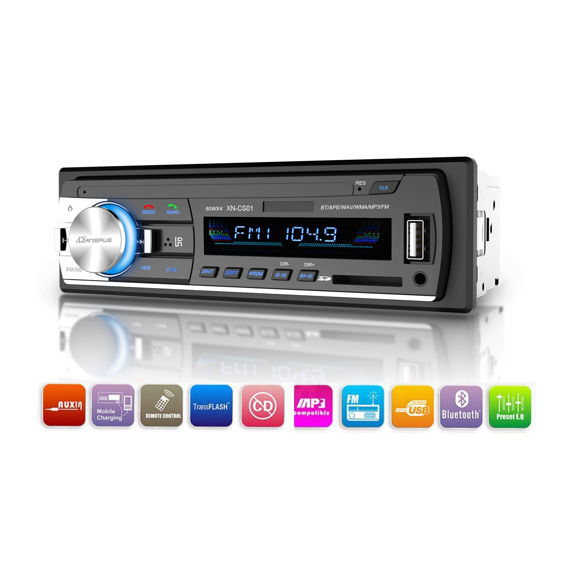 1Din Car In-dash Stereo Player Bluetooth SD USB MP3 FM Radio Receiver Audio AUX