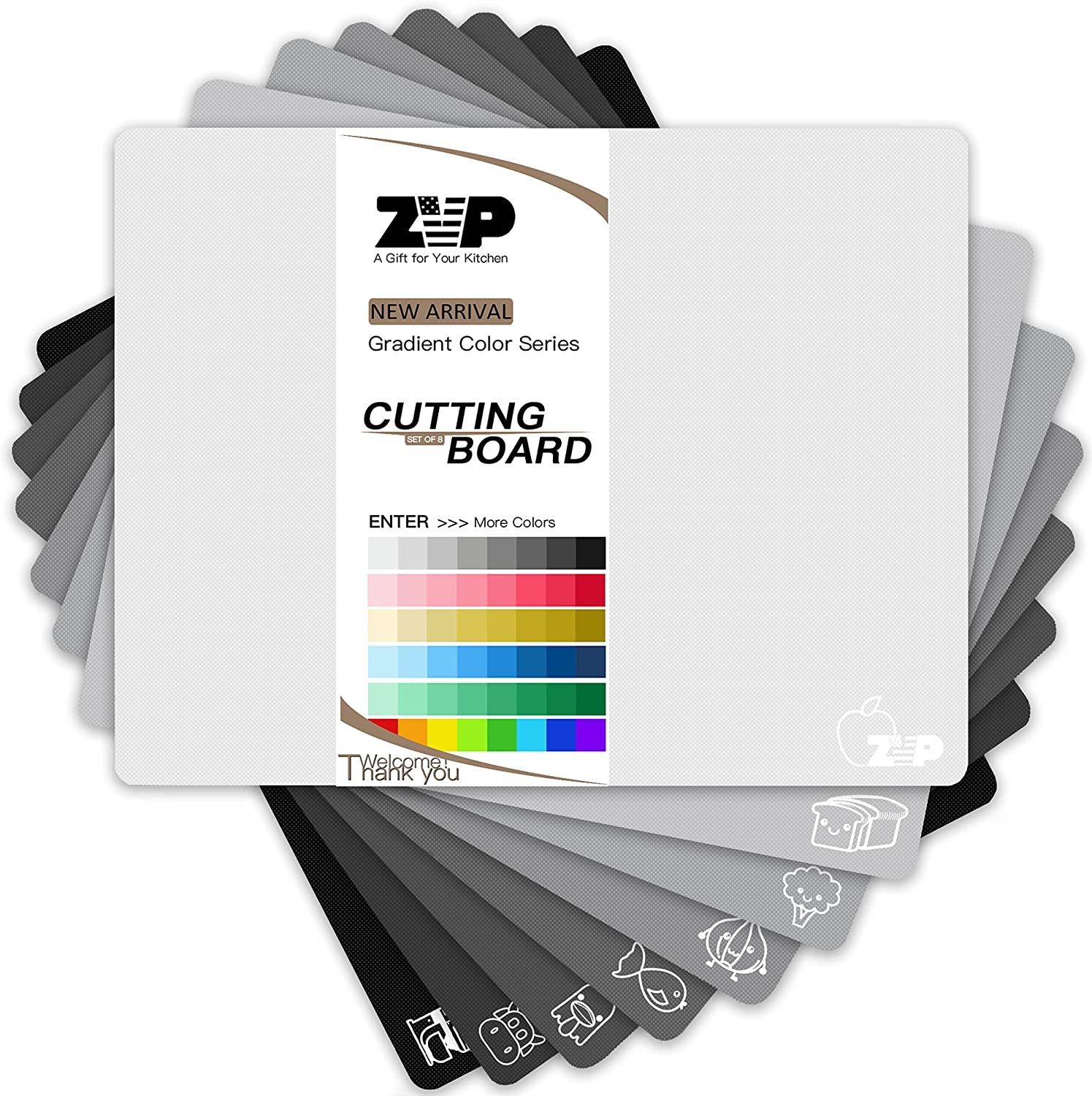 ZVP Flexible Plastic excellence Cutting Board Set sold out Color Gradient Colo 8 of
