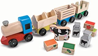 Melissa & Doug Wooden Farm Train Toy Set (3 Linking Cars, Great Gift for Girls and Boys - Best for 3, 4, 5 Year Olds and Up)