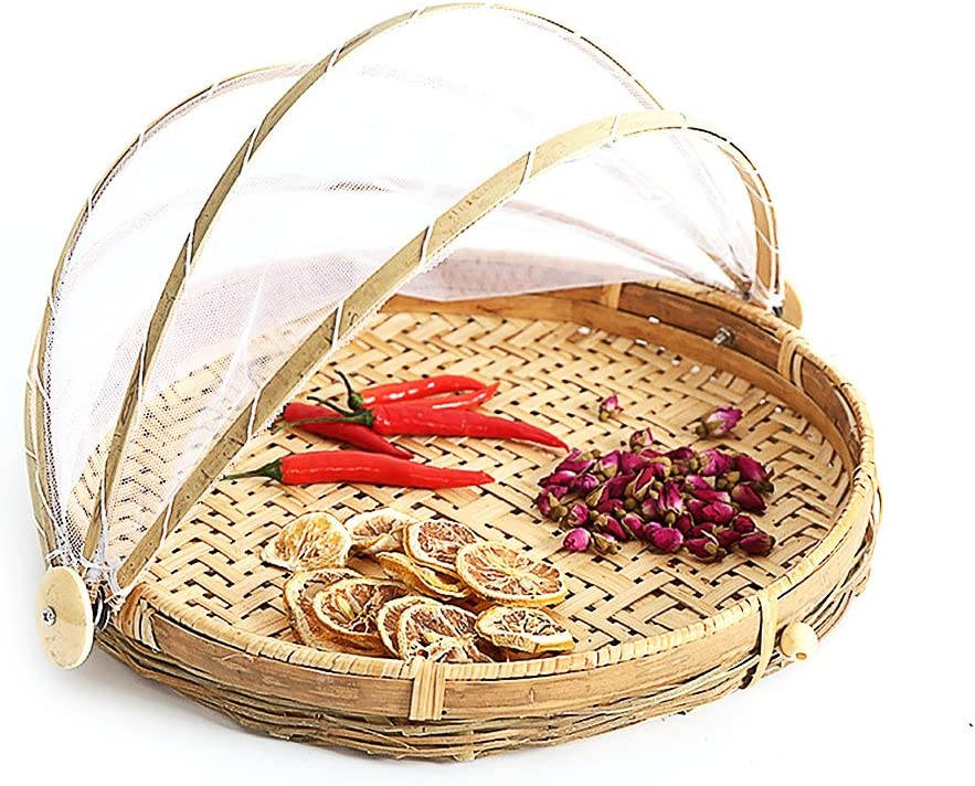 A/A Hand-Woven Food Serving Basket Fruit Vegetable Bread Cover Storage Container Plate Serving Cover Food Serving Tent Basket for Picnic Camping,30cm/40cm (40cm)