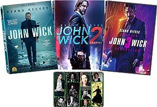 John Wick: Chapters 1-3 Complete DVD Keanu Reeves Movie Series with Bonus Glossy Art Print