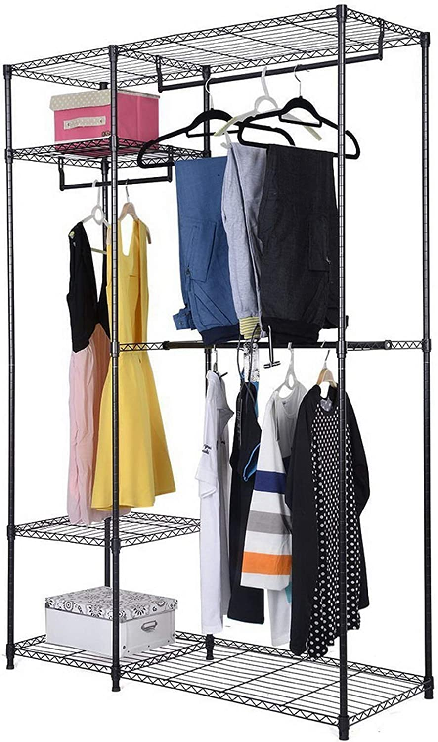 BRLUCKY Direct sale of manufacturer Furniture 4 Tiers Clothing Fancy Rack Clot Black Storage Spring new work