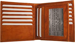 Men's Genuine Cow Leather European Bifold Removable ID Wallet Hipster