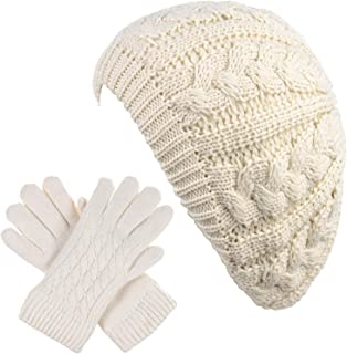 Be Your Own Style BYOS Women's Winter Fleece Lined Urban Boho Slouchy Cable Knit Beret Beanie Hat