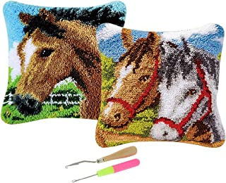 Baosity 2 Sets Horse Latch Hook Kit for DIY Pillow Cover Sofa Cushion Cover with 2 Pieces Latch Hook Tools
