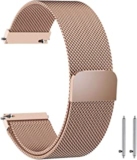 22mm Milanese Loop Watch Band Magnetic Closure Mesh Stainless Steel Replacement Strap for Samsung Gear S3 Frontier / S3 Classic/Huawei Watch 2 Classic - Rose Gold