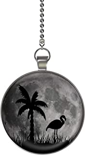 Flamingo Palm Moon Glow in the Dark Fan/Light Pull Pendant with Chain