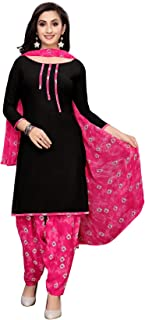 TreegoArt Fashion Women's Printed Crepe Unstitched Salwar Suit Dress Material -(Free Size) Black