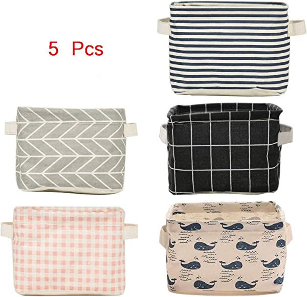 Foldable Storage Bin Basket Foldable Fabric Storage Receive Basket With Handle Cotton Linen Blend Storage Bins For Makeup Book Baby Toy 7 8 X 6 1 X 5 1 Inch 5 Count