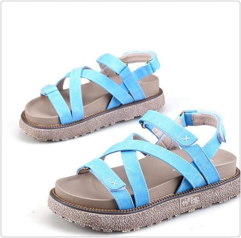 POKOLU& British Style Denim Platform Sandals Women's Summer 2018 New Magic Paste Rome
