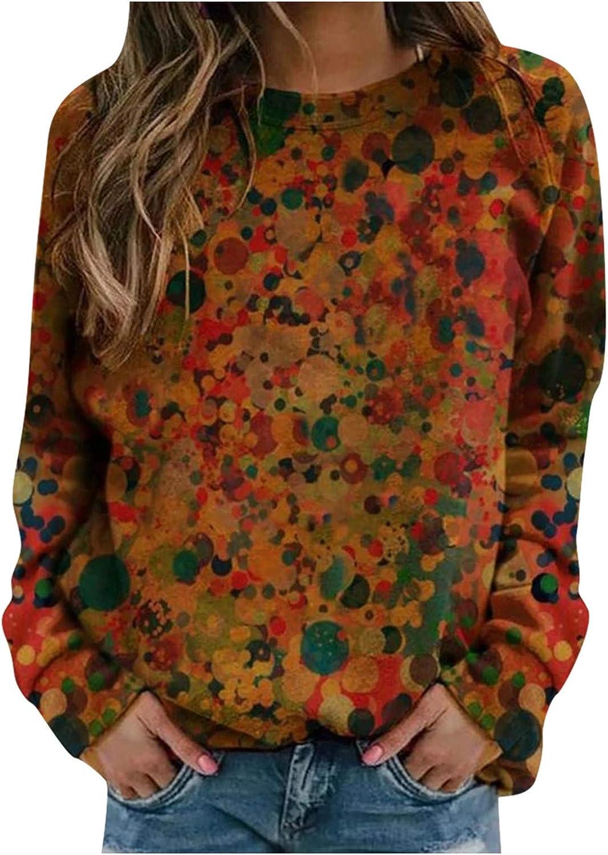 Women Long Sleeve Shirts,Women's Casual Crewneck Long Sleeve Sweatshirt Cute Print Pullover Top Comfy Tunic Tees