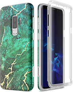 SURITCH Samsung Galaxy S9 Plus Marble Case, [Built-in Screen Protector] Full-Body Protection Hard PC Bumper + Glossy Soft TPU Rubber Gel Shockproof Cover for Galaxy S9 Plus 6.2 Inch (Green/Gold)