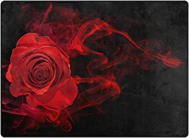 Rose in Smoke Swirl On Black Printed Large Area Rugs,Lightweight Water-Repellent Floor Carpet for Living Room Bedroom Home De