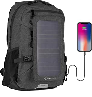 Sunnybag Explorer+ Solar Backpack | World's Strongest Solar Panel for Charging Smartphones and All USB-Devices on The go | 15L Volume and 15'' Laptop Compartment | Black/Black