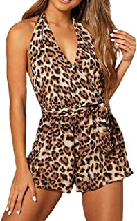 799d263a8d75 JINTING Leopard Sleeveless Romper Shorts for Women Short Pants Romper  Halter V Neck Party Club Romper