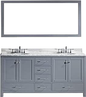 Virtu USA Caroline Avenue 72 inch Double Sink Bathroom Vanity Set in Grey w/Square Undermount Sink, Italian Carrara White Marble Countertop, No Faucet, 1 Mirror - GD-50072-WMSQ-GR