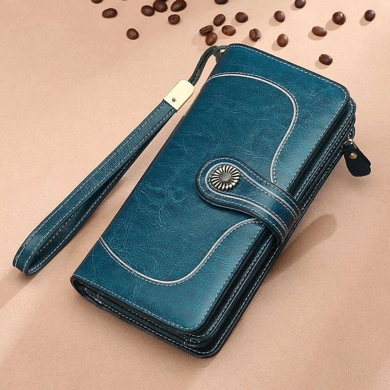 Sturdy Fashian Lidy Long Genuine Leather Wallet with Credit Card Holders Phone Money Organizer Zipper Purse Wristlet Handbag Large Capacity (color   blueee)