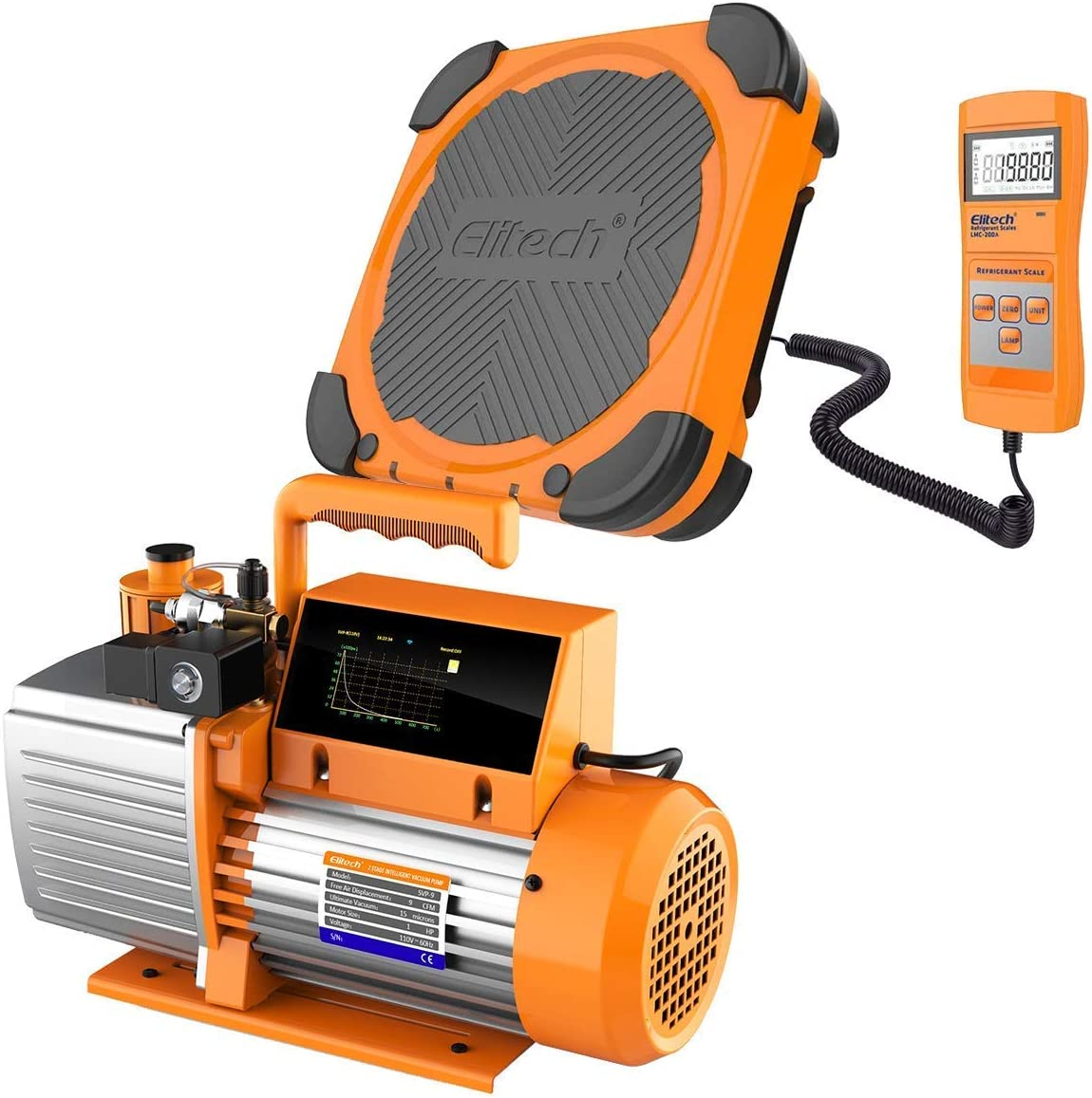 Elitech SVP-9 Vacuum Pump 9 CFM HVAC LMC-200 Stage Intelligent Max New popularity 80% OFF 2
