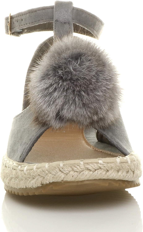 Ajvani Womens Ladies Flat t-bar pom pom Buckle peep Toe Shoes Espadrilles Sandals Size