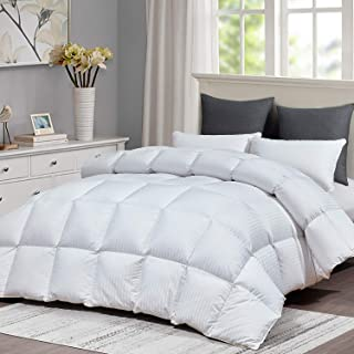 Luxurious All Season Goose Down Comforter King Size Duvet Insert, White Striped Hypo-allergenic 1200 TC, 750+ Fill Power, 64 oz Fill Weight 100% Cotton Shell Down Proof with 8 Tabs ( Stripe,King )