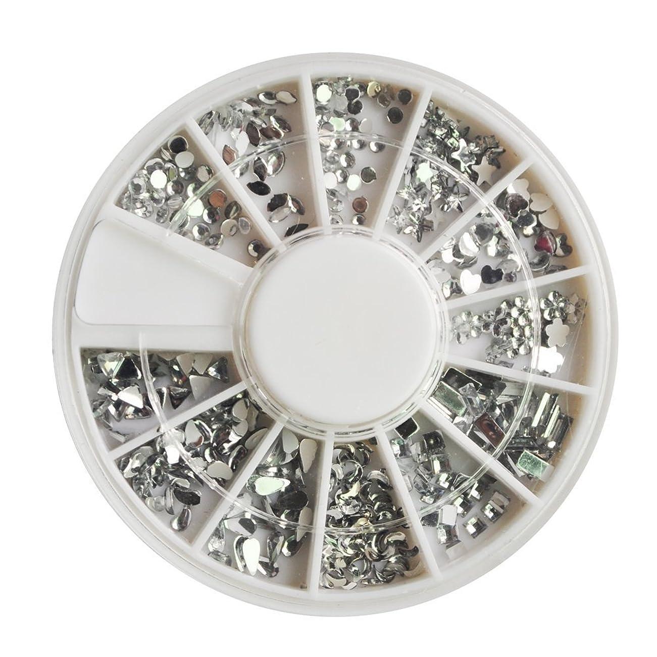 承認する不実合わせてSODIAL(R) 12個さまざまな形や大きさ、女性の爪、楽しさと美しさがあるのアクセサリー1200クリスタルプレミアム品質の宝石のネイルアートシルバームーンストーンパックトップコートや爪の接着剤で適用が容易