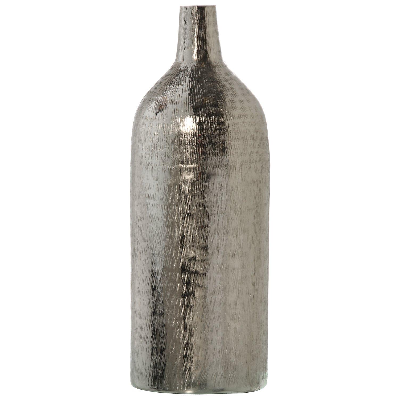DRW Jarrón con Forma de Botella de Aluminio Plateado 50cm: Amazon ...