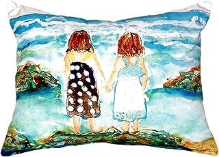 "Betsy Drake NC086 Twins on Rocks No Cord Pillow,,16"" X20"""