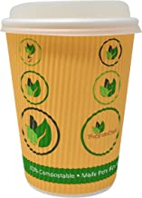 BioGreenChoice 12oz. Compostable Paper Disposable Hot Cup with Bio Lining, Ripple Wall with CPLA Lid- Microwave Safe, Biod...