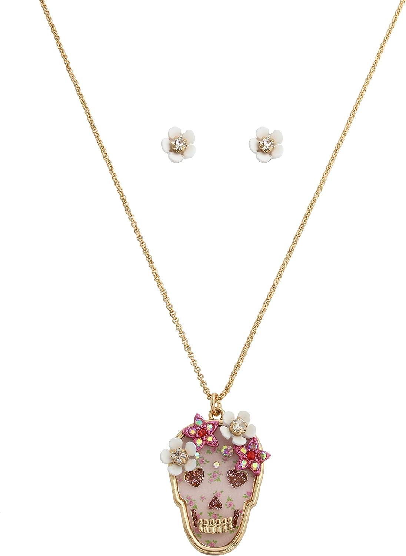 Betsey Johnson Floral Skull Pendant Necklace & Flower Stud Earrings Set