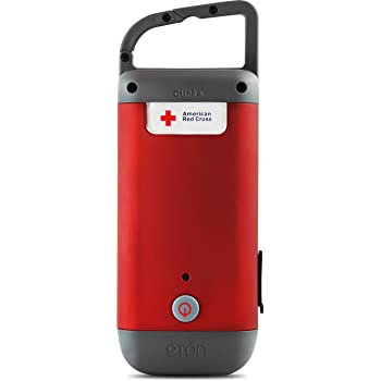 Eton American Red Cross Clipray Crank-Powered, Clip-On Flashlight & Smartphone Charger, Red