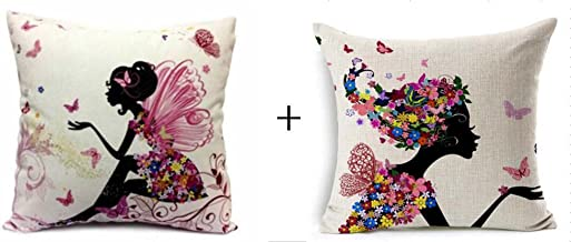 1 set 2 pcs Flower Fairy Girl with Pink Wing Elves and Butterflies New Decorative Pillowcase Throw Pillow Cushion Cover Square 18 18 Home Life ¡­ (3)