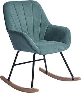 HOMYCASA Fauteuil à bascule moderne en tissu - Design ergonomique avec pieds en bois massif - Pour le salon - Tissu vert