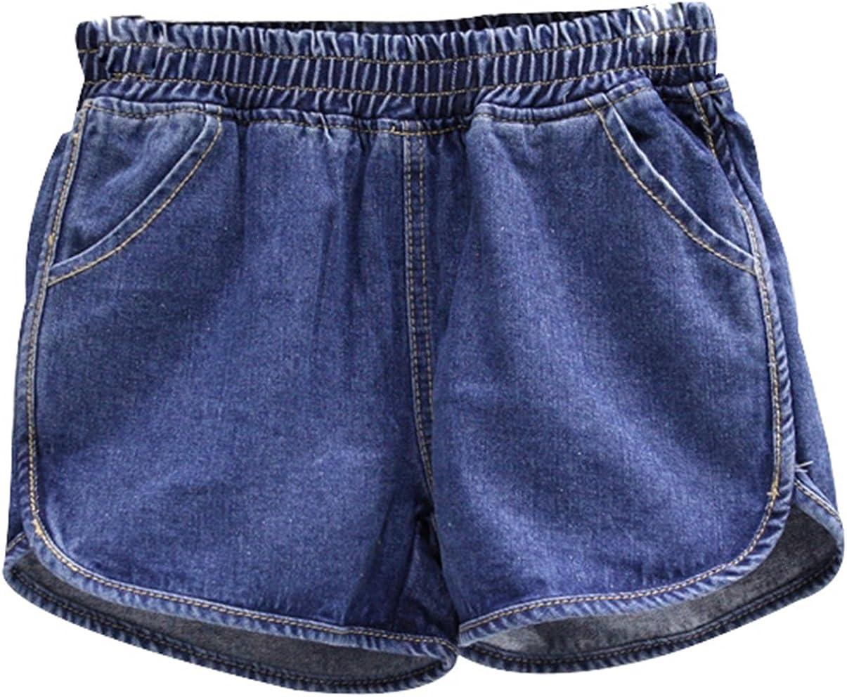 Casual Shorts Trendy XU Girls High Elastic Waist Vintage Jeans Denim Short