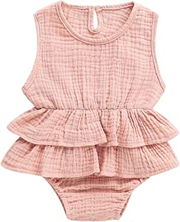 Newborn Baby Girls Lace Floral Bodysuit Tutu Onesies Romper Jumpsuit Fly Sleeve Clothes Summer Outfits