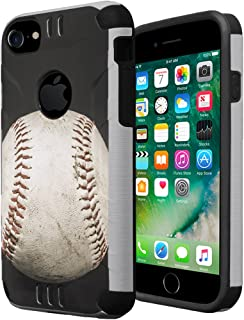 iPhone 7 Case, iPhone 6s Case, iPhone 6 Case, Capsule-Case Hybrid Dual Layer Slim Defender Armor Combat Case (Silver & Black) for iPhone 7 / iPhone 6S / iPhone 6 - (Baseball)