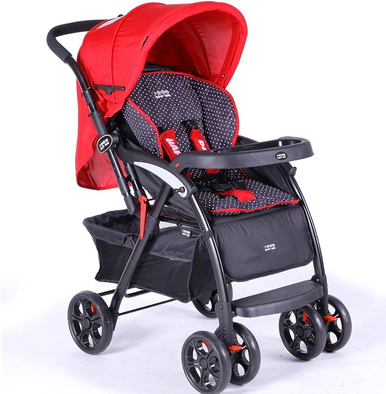 Kinderwagen Licht kann auf der Landschaft sitzen Liegen kann Zwei-Wege-Full Push Cart Einfach zu verwenden (Farbe   rot)