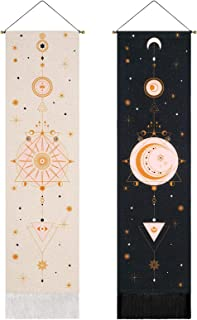 2 Pack Sun and Moon Tapestry Starry Sky Tapestry Celestial Tapestry Art Bohemian Tapestries Wall Hanging for Room (Black+White, 12.8 x 51.2 inches)
