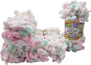 Alize Puffy Color 6052 Lot de 5 pelotes de laine à tricoter 100 g pour tricot des doigts – Laine multicolore super bulky à...