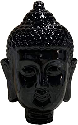 Benjara Modern Buddha Head Sculpture with Beaded Ushnisha, Black