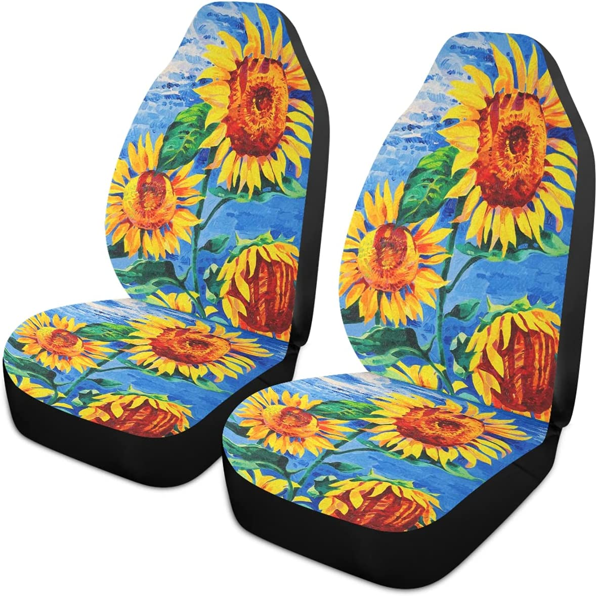 Oarencol Sunflower Car Seat Cheap mail order sales Covers Painting Univ Tampa Mall Floral Sky Blue