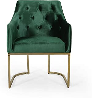 Christopher Knight Home 308959 Fern Modern Tufted Glam Accent Chair with Velvet Cushions and U-Shaped Base, Emerald and Gold Finish