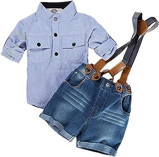 لباس شلوارک مخصوص بچه گانه پسرانه Amberetech ، جلیقه جلیقه ، پنبه آستین بلند پیراهن آبی راه راه پیراهن دو تکه