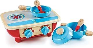 مجموعة مطبخ بيبي للأطفال الصغار | طقم طبخ خشبي مكون من 6 قطع، مجموعة ألعاب للمطبخ مع موقد لعبة، مقلاة، ملعقة، ملعقة