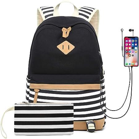 2pcs Rucksack Damen Sport Reise Schule Laptop Mäppchen USB Port Schultasche