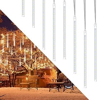 Rain Lights, Meteor Lights, POYINRO LED Meteor Shower Rain Lights 192 LEDS 11.8 inch 8 Tubes, Outdoor Waterproof Drop Icicle Snow Falling Raindrop Cascading String Lights for Wedding Christmas (White)