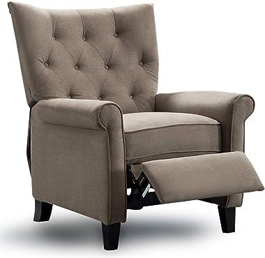 ANJ Recliner Elizabeth Accent Chair for Living Room Easy to Push Mechanism, Elegant Roll Arm Chair for Bedroom (Khaki)
