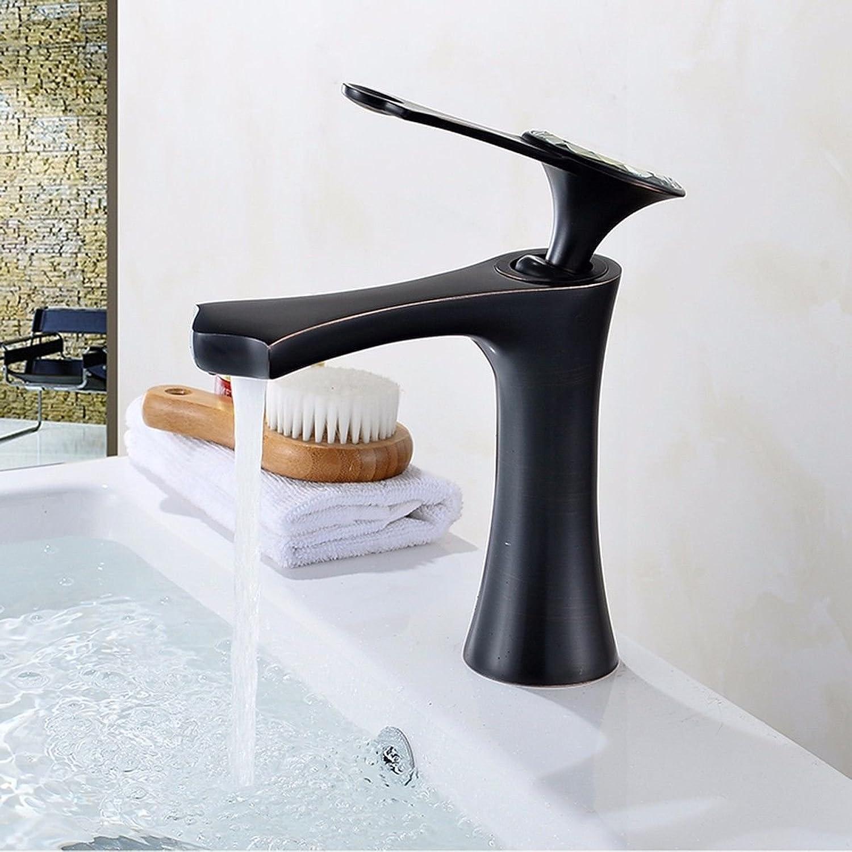 ETERNAL QUALITY Badezimmer Waschbecken Wasserhahn Messing Hahn Waschraum Mischer Mischbatterie Tippen Sie auf Schwarze Farbe voll Kupfer Einloch Waschbecken Waschbecken